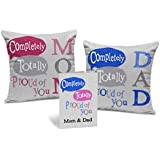 """TIED RIBBONS Gifts Set for Mom, Dad Set of 2 Printed Cushion(12"""" x 12"""") with Inner Fillers and Greeting Card"""