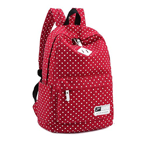 Yimidear zaino borsa donna ragazza in tela Pois per scuola viaggio shopping laptop eutro 14 Rosso