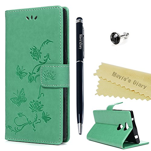 Sony Xperia XA2 Hülle Case Mavis\'s Diary Lotu Muster Leder Tasche Handyhülle Flip Cover Handytasche Schutzhülle Skin Standfunktion Schale Stoßdämpfend Bumper Brieftasche Magnetverschluss-Mintgrün
