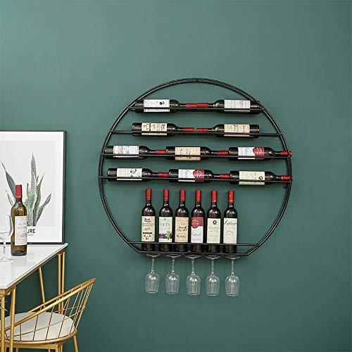 Runde Etagere Rack (Weinregal Wandbehang Runde Schmiedeeisen Weinregal KopfüBer Weinglas Rack Restaurant Dekoration Rack WeinstäNder)
