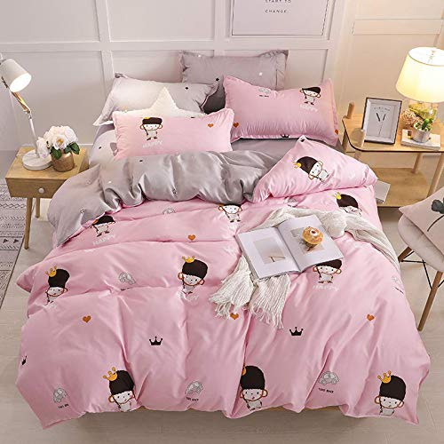 muzi928 Cute Bear Soft Bedclothes Modern Style Home Textile, Twin Size Pillowcase & Duvet Cover Bed Sheet Sets150*200cm -