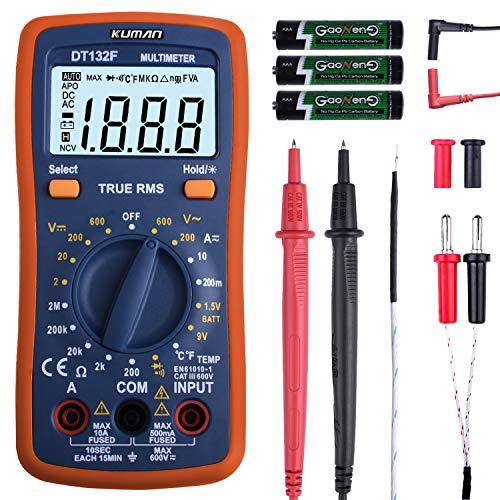 Digital Multimeter Set, kuman Pocket Multi Tester für Voltmeter Amperemeter Ohmmeter Widerstandsdioden Temperatur mit Hintergrundbeleuchtung LCD DT132F
