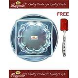 ROYALS Aluminium Cake Mould 3 Pc Set (Flower, Square, Round) + 1 Pc Spatula + Free 3 Cake Recipes