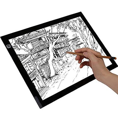 Cobee Tablette Lumineuse A4 LED Pad A4 pour Dessiner Tablette Esquisse Planche à Dessin Panneau Dessin Luminosité Réglable avec Cable USB (stepless)