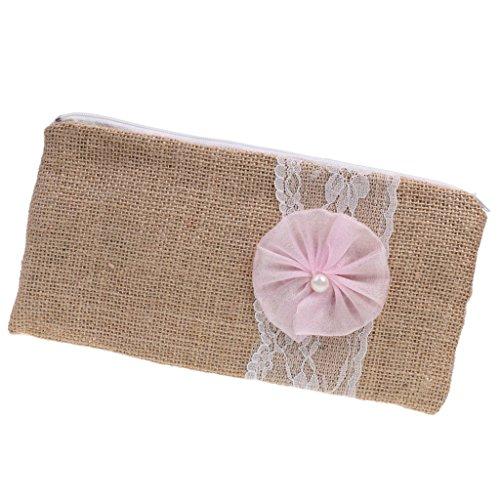 MagiDeal Damen Clutch Abendtasche Damentasche Handtasche Brauttasche mit Spitze Blumen Deko aus Jute - Rosa, 24 x 12cm