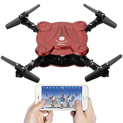Acefun FQ17W Tasche faltbare RC Quadcopter Drohne mit FPV-Kamera und Live-Video - App und Wifi-Telefon-Steuerung - Höhe halten 3D Flips & Rolls-6-Achsen-Gyro Gravity Sensor RTF Helicopter (rot) (Drohne Für Smartphone)