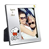 Geschenkidee.de Bilderrahmen mit Gravur | Snoopy Fotorahmen mit personalisierten Wunschnamen | Silber, 17cm