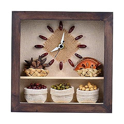 A48DESIGN Premium Unique Decorative Nut Soybean Natural Wood Frame Design Wall Desk Bedroom Office Tabletop Clocks