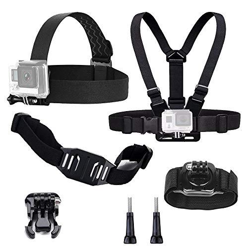 tekcam Action Kamera Zubehör Kit für GoPro Hero65, Schwarz, Hero 4, silber Apeman Akaso EK70004K Action Kamera-Gurt + + Kommode + Gurt-Armband mit Riemen