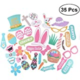 35 Pcs Easter Photo Props Rabbit And Eggs Decor Party Decorations With Attached Stick For Easter Celebration