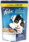Felix So gut wie es aussieht Katzenfutter Huhn, 20er Pack (20 x 100 g) Beutel