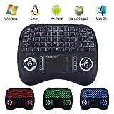 (Neue Funktionen) iPazzPort Mini Kabellose Beleuchtete Tastatur Touchpad-Maus Combo, 2.4GHz QWERTY Keyboard, Mini Wireless Tastatur Fernbedienung, für Smart TV, HTPC, IPTV, Android TV Box