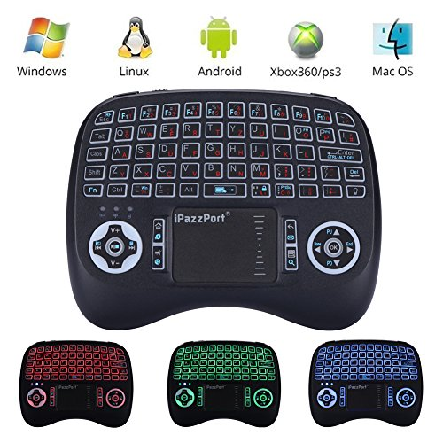 (Neue Funktionen) iPazzPort Mini Kabellose Beleuchtete Tastatur Touchpad-Maus Combo, 2.4GHz QWERTY Keyboard, Mini Wireless Tastatur Fernbedienung, für Smart TV, HTPC, IPTV, Android TV Box