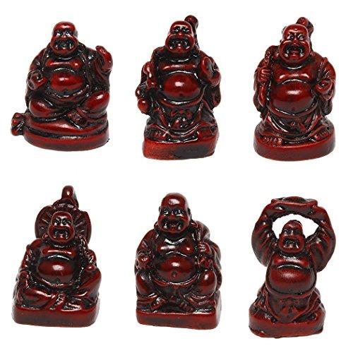 Estatua de Buda de la suerte divinetm figuras de buda sonriente Juego de 6, 1de cada color rojo, Meditacion Yoga regalo energia positiva