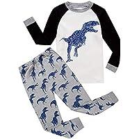 �� Zolimx Bebé Niños Niñas Pijamas de Dibujos Animados de Impresión Tops de Manga Larga Pantalones Largos Trajes Conjuntos para Ropa de Otoño Recién Nacido (5Años/ 130CM, Blanco)