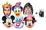 Mickey Mouse et Amis Halloween Masque en carton de 2D paquet de 6 (Mickey, Minnie, Donald, Ursula, Wicked Witch et Wicked Queen) - Comprend une photo étoile (15x10cm)