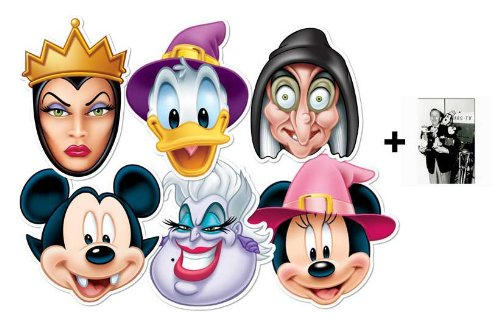 unde Halloween Karte Partei Gesichtsmasken (Maske) Packung von 6 (Mickey, Minnie, Donald, Ursula, Wicked Witch und Wicked Queen) (Familien-halloween-filme Von Disney)