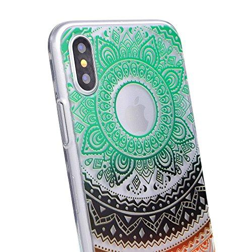 """Hülle für Apple iPhone X , IJIA Transparente Schwarz Indische Sonnenblume TPU Weich Silikon Stoßkasten Cover Handyhülle Schutzhülle Handytasche Schale Case Tasche für Apple iPhone X (5.8"""") AK60"""