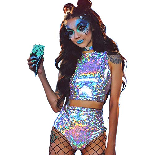 Sallypan Frauen Rave Outfit 2 Stück, 2019 Shiny Festival Crop Top & Booty Shorts Unterteile Metallic Holographic Rainbow Outfits,Silver,M -