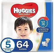 HUGGIES Ultra Comfort Diapers, Size 5, Jumbo Pack, 12-22 kg, 64 Diapers