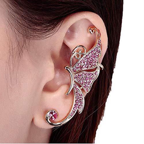 SEWORLD Hot !!! Schmetterlings Flügel Kristall Schmetterlingsflügel Ohrclip Clamp Ohrring Modeschmuck(Rosa,5.4cm)