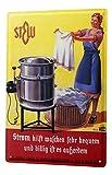 Blechschild Nostalgie Wand Deko Schild Waschmaschine Wäschekorb Strom Werbung 20X30 cm