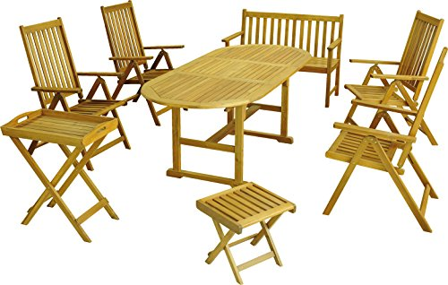 colourliving Gartenmöbel Set 8 tlg. Klappsessel Gartentisch Gartenbank Hocker FSC Holz Akazie