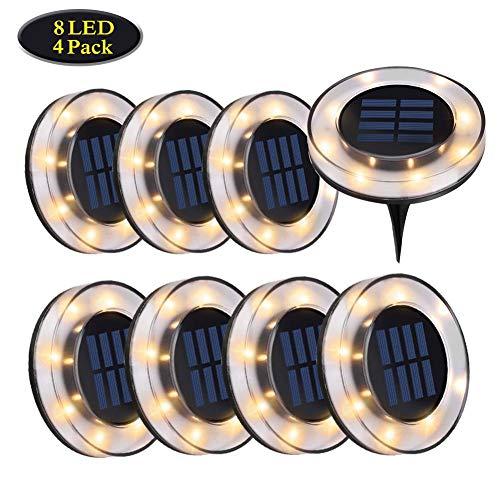 WZTO Luci Solari Giadino, 8 LED luci terra solari IP65 Impermeabil Wireless lampade Solari da Giardino per Esterno,Scala,Paesaggio,Strade(bianco caldo,8 pacco)