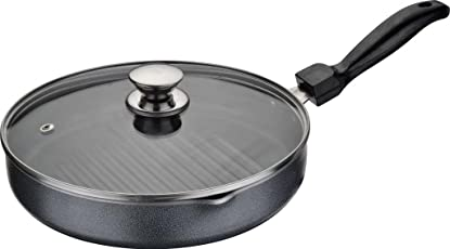 Versace Aluminium Nonstick Fry Grill Pan with Glass Lid (Black, 23cm)