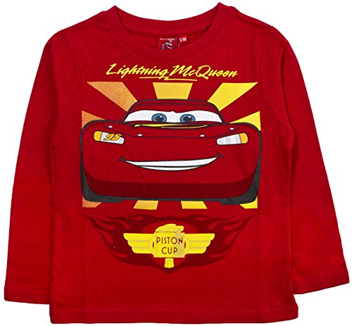 Image of Disney Cars Lightning McQueen Long Sleeve T Shirt 100% Cotton Boys Top Size UK 2-8 Years
