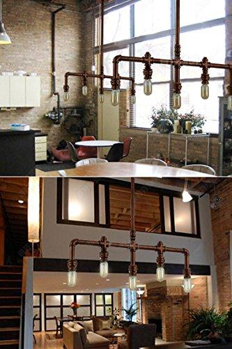 Lightess Retro Klassische Wasserrohr Geformt Hängelampe Industrie rétro Rustic Steampunk Metallwasserrohr Retro Decke hängende 5 Lichter Edison-Lampe Kronleuchter, Kupfer-Finish -