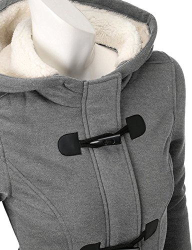 Minetom Damen Winter Lange Ärmel Hupenknopf Mit Kapuze Hochschule Jacke Verdicken Vlies Warm Mantel Grau