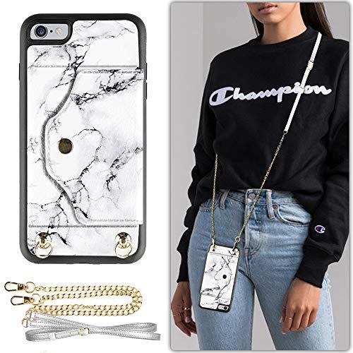 iPhone 6 Hülle, Lameeku iPhone 6s Wallet Case mit Kreditkartenschlitz, Schutzhülle mit Crossbody Chain Strap & Handschlaufe für iPhone 6/6S, 11,9 cm, Apple iPhone 6 / 6s 4.7