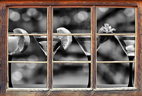 chiedene exotische Martinis Fenster im 3D-Look, Wand- oder Türaufkleber Format: 92x62cm, Wandsticker, Wandtattoo, Wanddekoration (Günstige Martini-gläser)