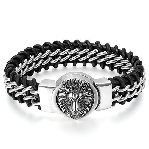 JewelryWe Schmuck Herren Armband, Gotik Löwe Geflochtene Kette Armreif, Echtleder Leder Edelstahl,...