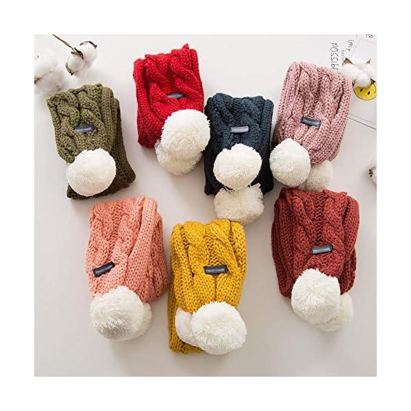Xuxuou 1 Pieza de Invierno De Bufandas con Bola Caliente de Bufanda para Bebé Bufanda de Lana Tejida a Mano size 68cm*8… 4