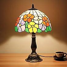 12 pulgadas de la vendimia de cuatro colores Morning Glory Tiffany estilo manchado de vidrio lámpara