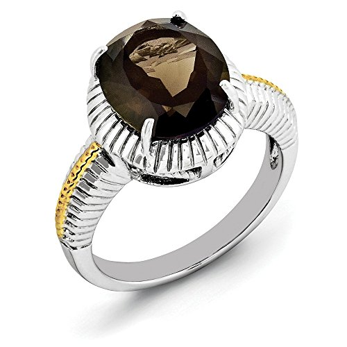Gold-Platte Sterling Smokey Silber Quarz Blitz Ring w /