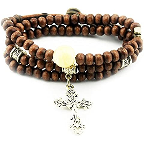 Christian religiosos Inspirational pulsera de cuentas de madera colgante en forma de cruz botón de