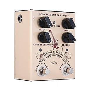 ammoon Pre-amp DI Box per Chitarra Acustica Caline Supporta il basso Treble Control con Anti Feedback e Interruttori a Pedale a Trefasi