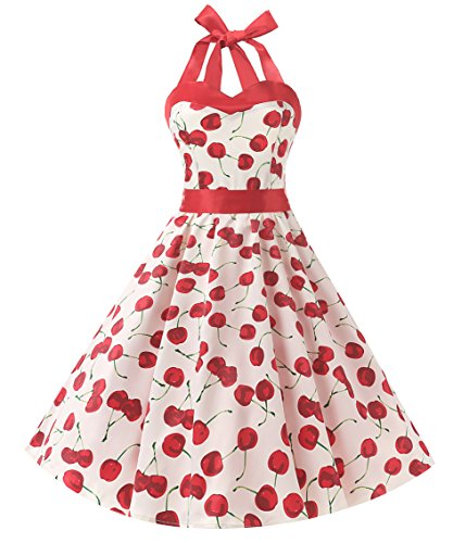 Dresstells Neckholder Rockabilly 1950er Polka Dots Punkte Vintage Retro Cocktailkleid Petticoat Faltenrock Cherry White L -