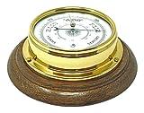 Tabic Messing-Barometer und englische Eiche mit schwerem Lacquered Messing (1/2kg) mit Schiff Boot Segeln Wetter-Uhr, in Englisch, mit Halterung, hergestellt in England