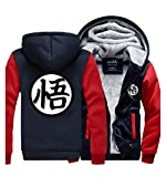 Dragon Ball Herren Baumwollmischung mit Fleece-Futter-Winter-warme Hoodie Sweater Rot