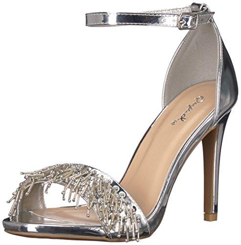 Qupid Damen Single Sole Sandale, Silber 35.5 M EU