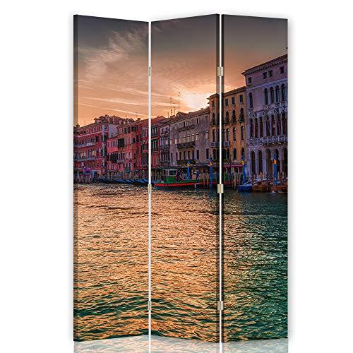 Feeby Foto Biombo Venecia 3 Paneles Unilateral Agua Arquitectura Multi 110x175 cm