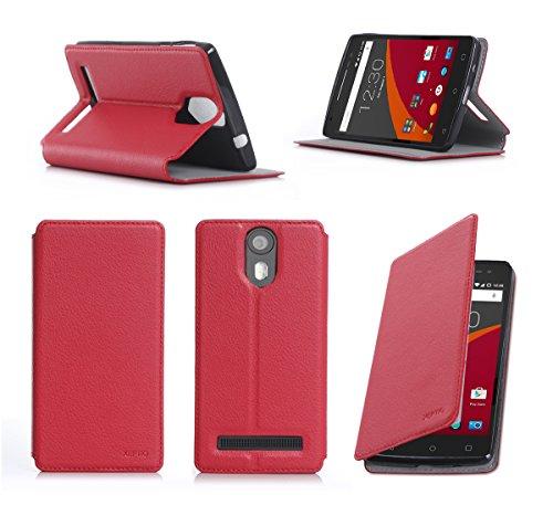 Wileyfox Storm 4G Dual Sim Tasche Leder Hülle rot Cover mit Stand - Zubehör Etui Wileyfox Storm 4G Flip Case Schutzhülle (PU Leder, Handytasche Red) - XEPTIO accessories