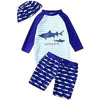 showsing-baby clothing Conjunto de Pijama de Manga Larga con diseño de tiburón y Pantalones Cortos de Onda, para niños, niña, Color Azul, tamaño 3-4 años
