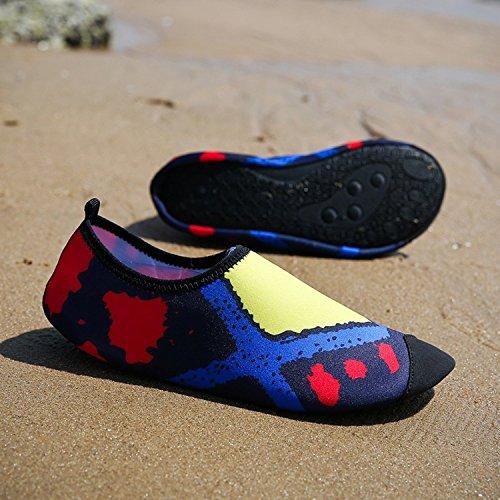 Dewuseller Scarpe da Acqua Scarpe da Spiaggia gatura Rapid Scarpe Nuoto Aqua Skin Water Shoes Adulti Uomo Donna per Nuoto Surf Yoga Nuotare Fitness Sport Spiaggia Giallo/blu/rosso