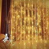 JAYLONG 3 * 3 M 300 Led Rideau Icicle Chaîne Lumières Fées Lumières De Noël Lampes De Noël Décoration De Fête De Mariage Pour Chambre Salon Lit,Warm,3*2