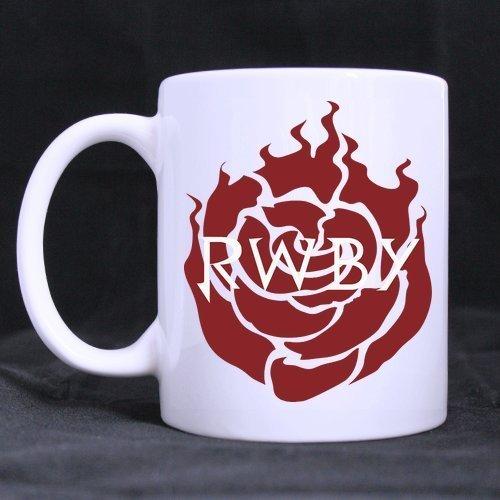 Cartoon Red Rose Pattern Customized Design White Mug Coffee Mug Creative Milk Mug Personalized Tea Cup 11OZ by BOLALA White Mug